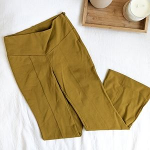 Anthropologie Chartreuse Ponte Stretch Flare Pants